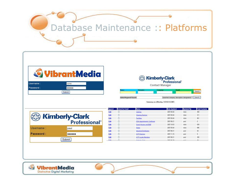 Database Maintenance :: Platforms