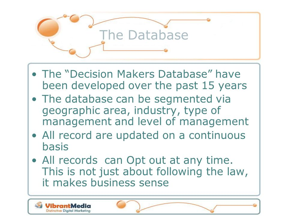 The Database The Decision Makers Database have been developed over the past 15 years The database can be segmented via geographic area, industry, type
