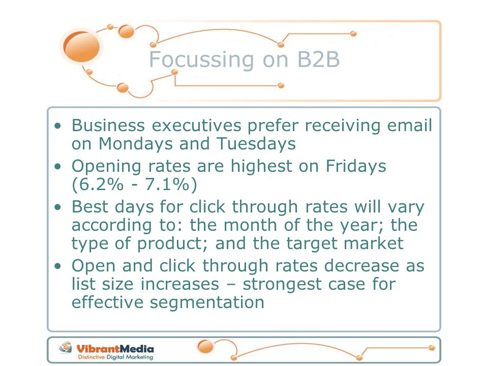 Focussing on B2B Business executives prefer receiving email on Mondays and Tuesdays Opening rates are highest on Fridays (6.2% - 7.1%) Best days for click through rates will vary according to: the month of the year; the type of product; and the target market Open and click through rates decrease as list size increases – strongest case for effective segmentation