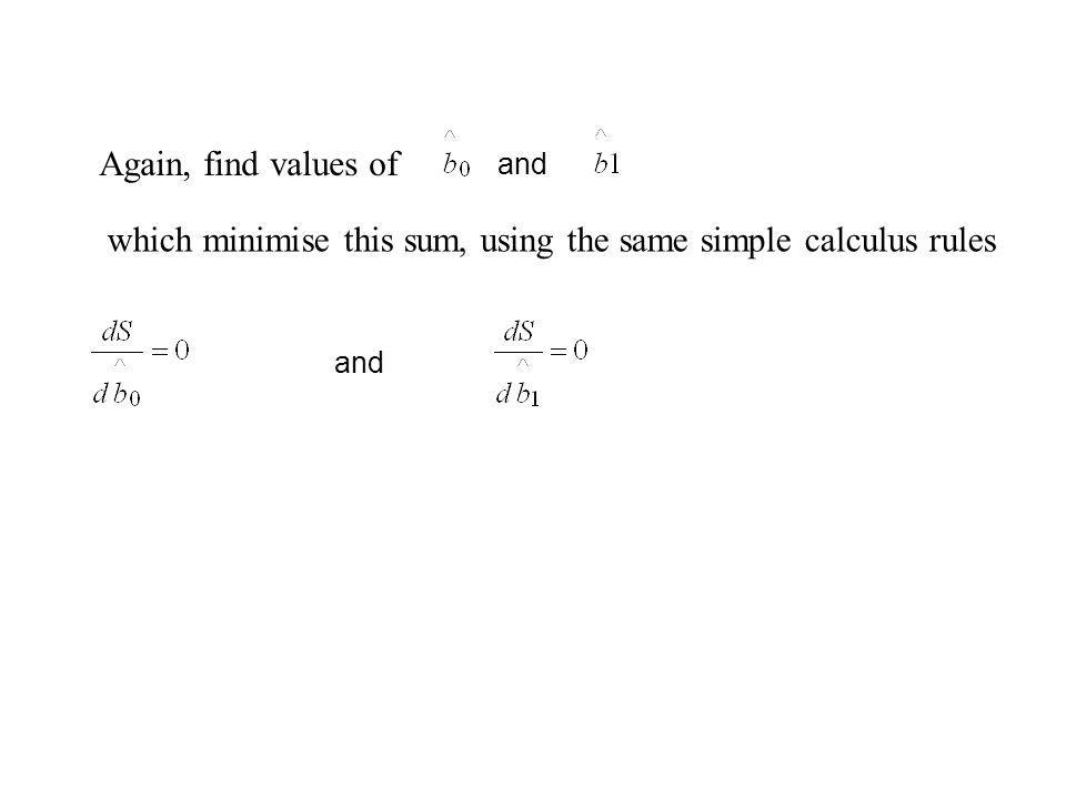 Again, find values of and which minimise this sum, using the same simple calculus rules and