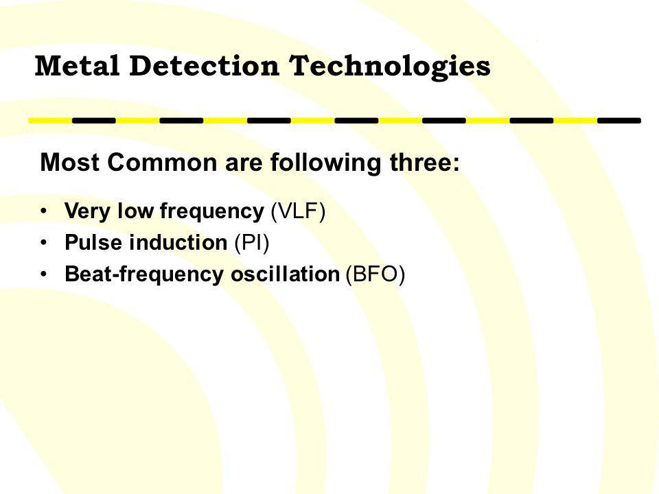 Most Common are following three: Very low frequency (VLF) Pulse induction (PI) Beat-frequency oscillation (BFO) Metal Detection Technologies