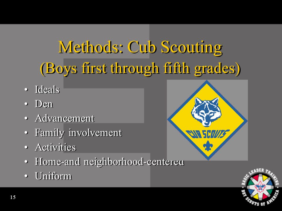 14 The Programs of Scouting Cub Scouting is for boys in the first through fifth grades or ages 7 through 10.