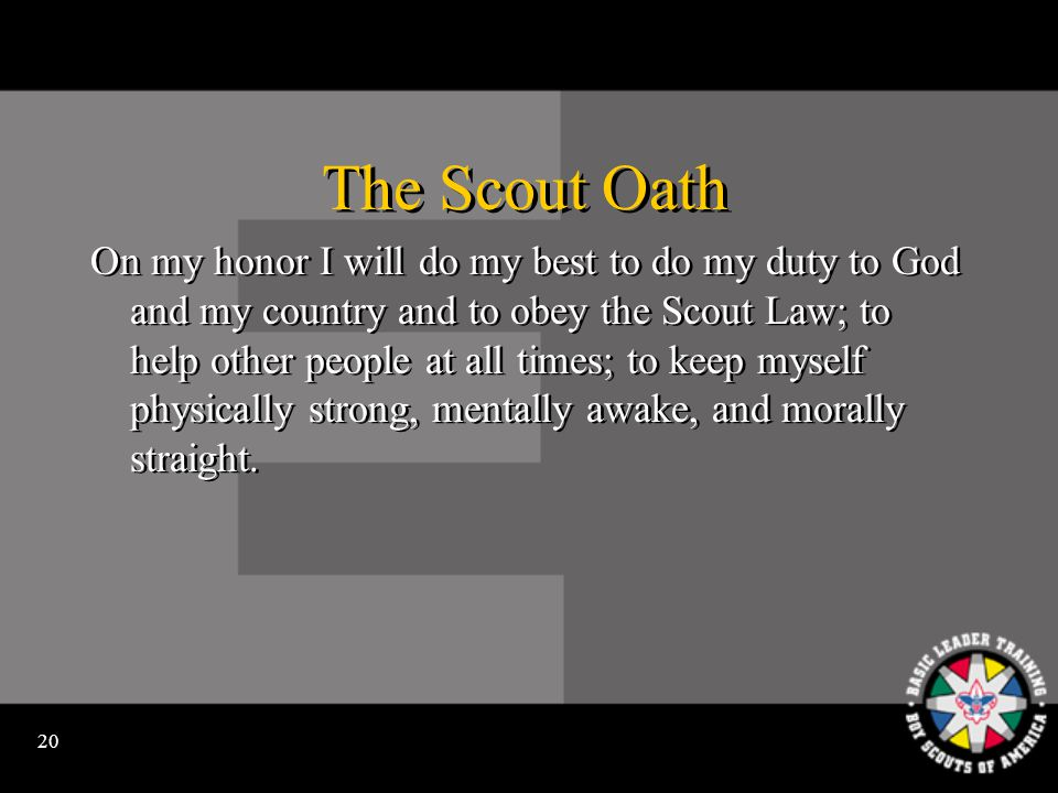19 The Cub Scout Promise I, (name), promise to do my best to do my duty to God and my country, to help other people, and to obey the Law of the Pack.