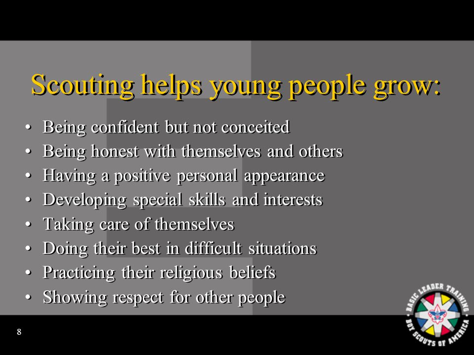 18 Our goal is to be continually moving youth from dependence on adult direction to independence.