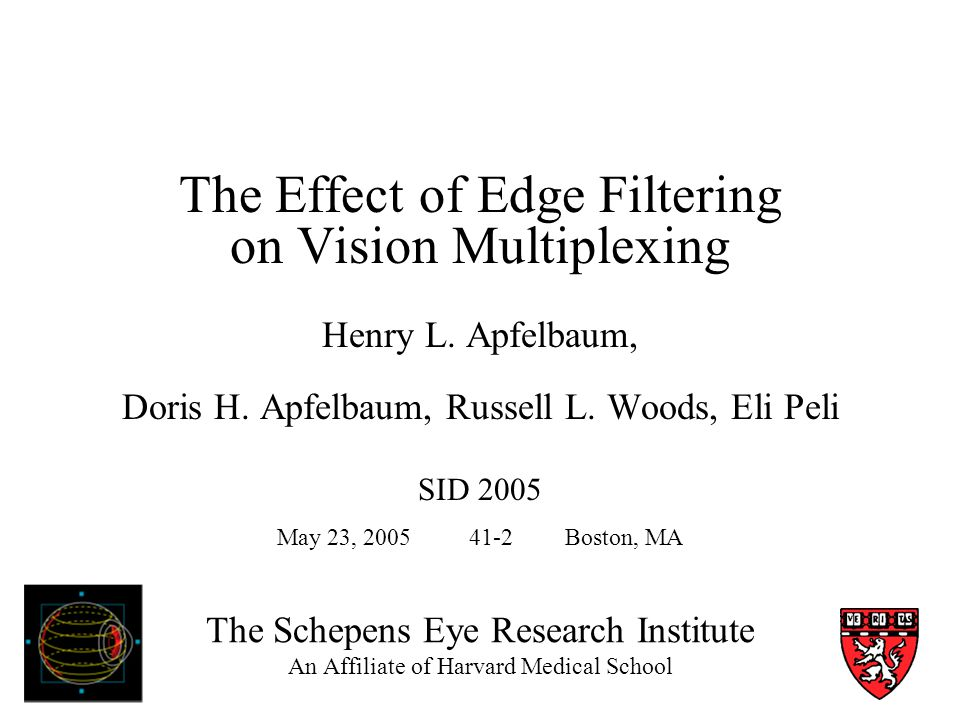 The Schepens Eye Research Institute An Affiliate of Harvard Medical School The Effect of Edge Filtering on Vision Multiplexing Henry L.