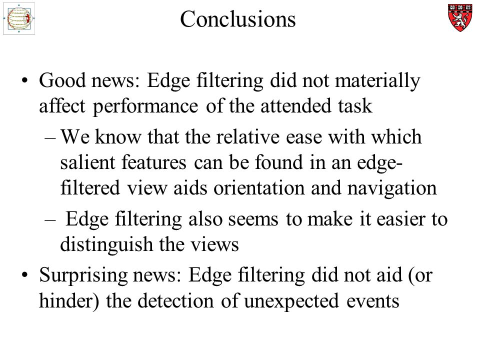 Conclusions Good news: Edge filtering did not materially affect performance of the attended task –We know that the relative ease with which salient features can be found in an edge- filtered view aids orientation and navigation – Edge filtering also seems to make it easier to distinguish the views Surprising news: Edge filtering did not aid (or hinder) the detection of unexpected events