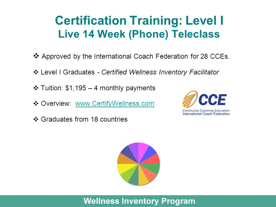 Certification Training: Level I Live 14 Week (Phone) Teleclass Approved by the International Coach Federation for 28 CCEs. Level I Graduates - Certifi