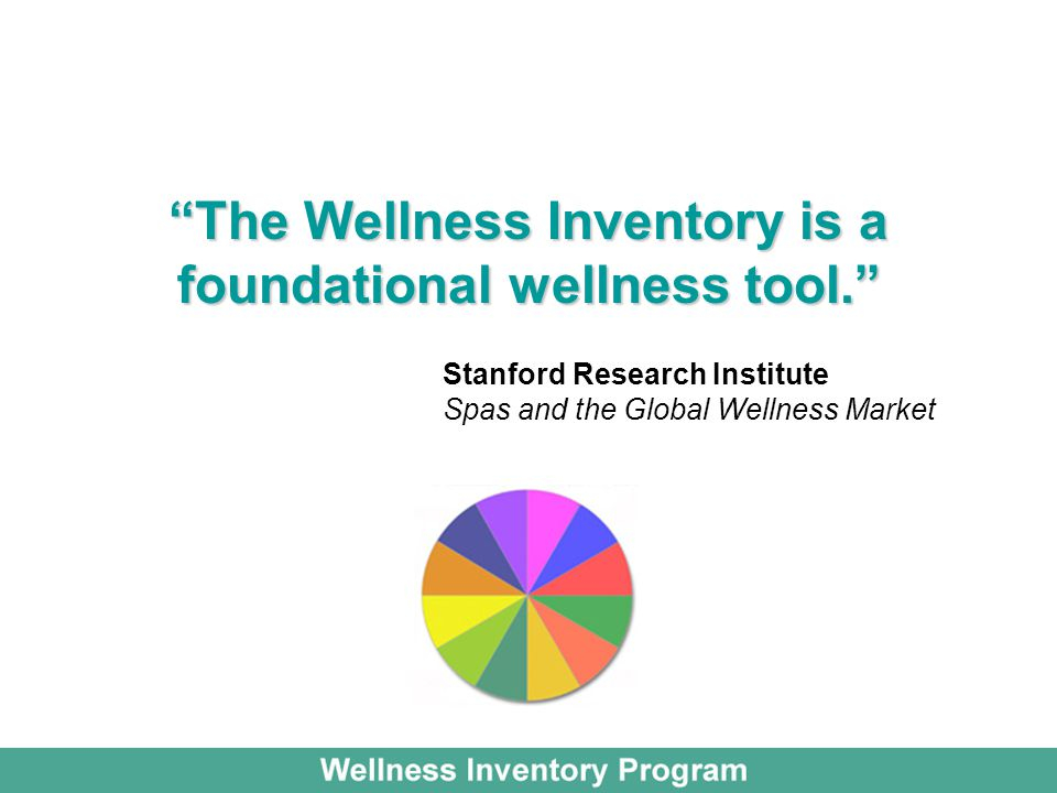 The Wellness Inventory is a foundational wellness tool. Stanford Research Institute Spas and the Global Wellness Market