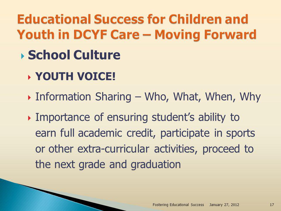 School Culture YOUTH VOICE! Information Sharing – Who, What, When, Why Importance of ensuring students ability to earn full academic credit, participa