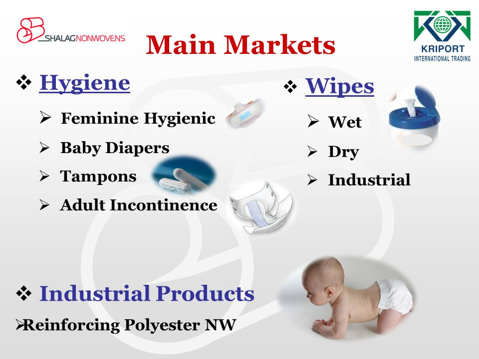 Hygiene Feminine Hygienic Baby Diapers Tampons Adult Incontinence Main Markets Wipes Wet Dry Industrial Industrial Products Reinforcing Polyester NW
