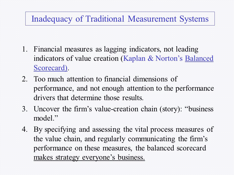 VALUE CREATION EXAMPLE Wal-Mart CUSTOMER SATISFACTION ROI SUPPLY-CHAIN MGMT. RELIABLE EMPLOYEES Financial Customer Internal/business process Learning