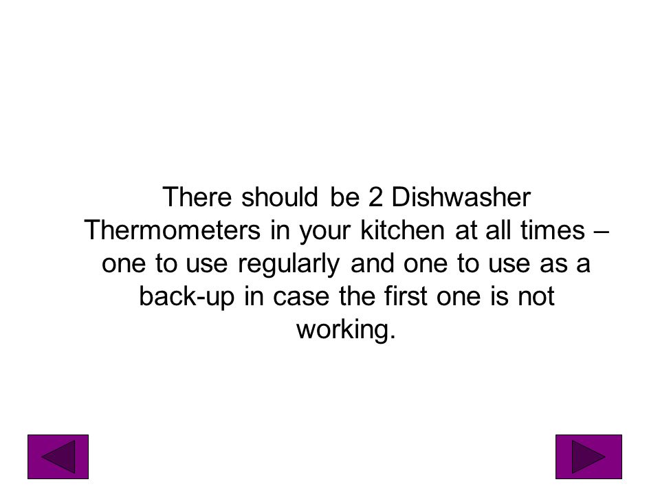 There should be 2 Dishwasher Thermometers in your kitchen at all times – one to use regularly and one to use as a back-up in case the first one is not