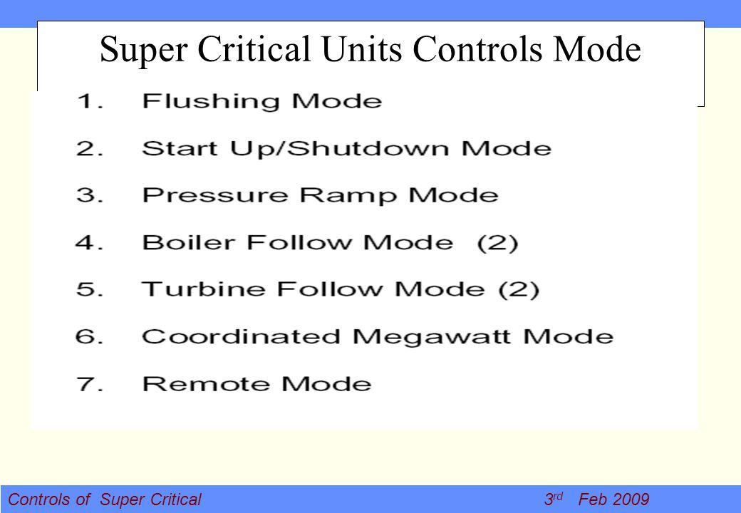 Controls of Super Critical 3 rd Feb 2009 Super Critical Units Controls Mode
