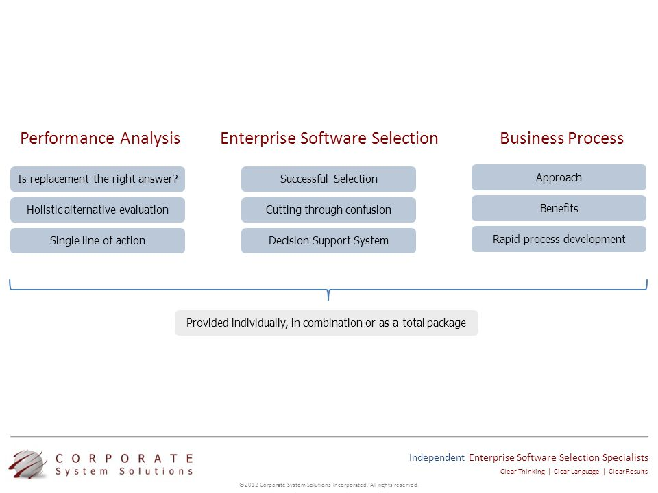 Independent Enterprise Software Selection Specialists ©2012 Corporate System Solutions Incorporated.