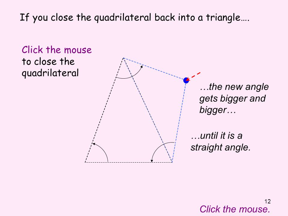 12 If you close the quadrilateral back into a triangle….
