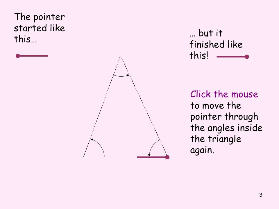 3 The pointer started like this… Click the mouse to move the pointer through the angles inside the triangle again.