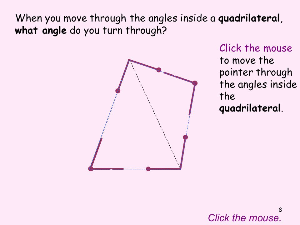 8 Click the mouse to move the pointer through the angles inside the quadrilateral.