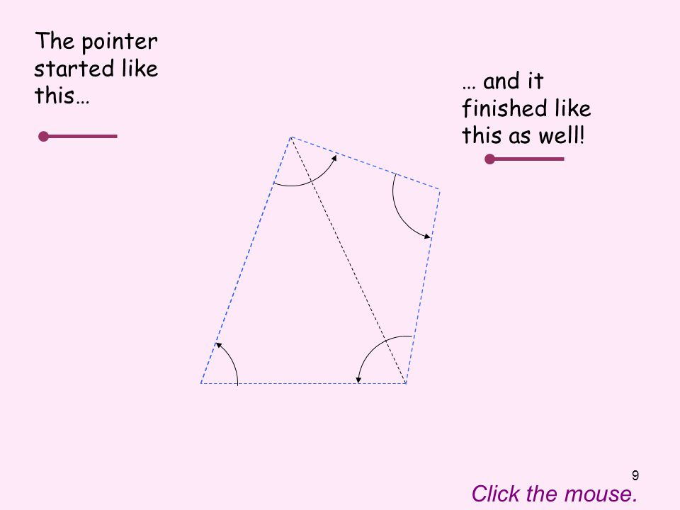 10 Click the mouse to move the pointer through the angles inside the quadrilateral again.