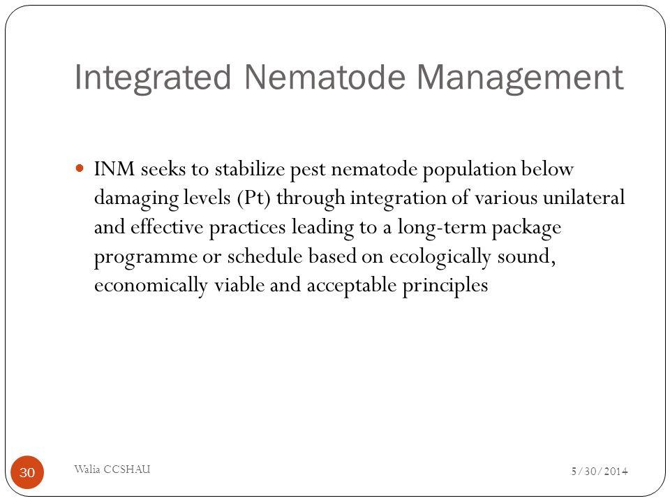 Integrated Nematode Management INM seeks to stabilize pest nematode population below damaging levels (Pt) through integration of various unilateral an