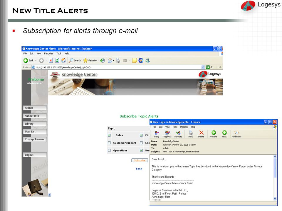 New Title Alerts Subscription for alerts through e-mail
