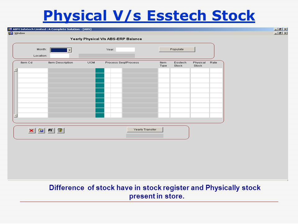 Physical V/s Esstech Stock Difference of stock have in stock register and Physically stock present in store.