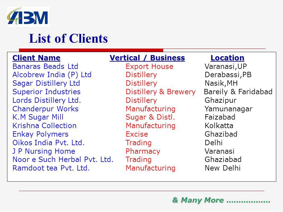 List of Clients Client NameVertical / BusinessLocation Client Name Vertical / BusinessLocation Banaras Beads LtdExport House Varanasi,UP Alcobrew India (P) LtdDistillery Derabassi,PB Sagar Distillery LtdDistillery Nasik,MH Superior IndustriesDistillery & Brewery Bareily & Faridabad Lords Distillery Ltd.Distillery Ghazipur Chanderpur WorksManufacturing Yamunanagar K.M Sugar MillSugar & Distl.