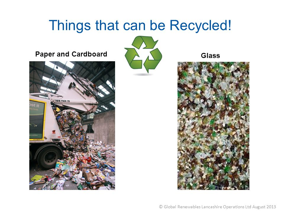 Things that can be Recycled! Paper and Cardboard Glass © Global Renewables Lancashire Operations Ltd August 2013