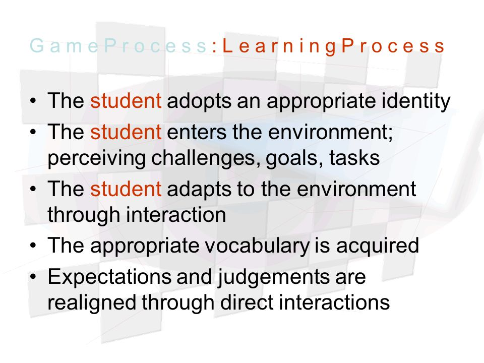 The student adopts an appropriate identity The student enters the environment; perceiving challenges, goals, tasks The student adapts to the environment through interaction The appropriate vocabulary is acquired Expectations and judgements are realigned through direct interactions G a m e P r o c e s s : L e a r n i n g P r o c e s s