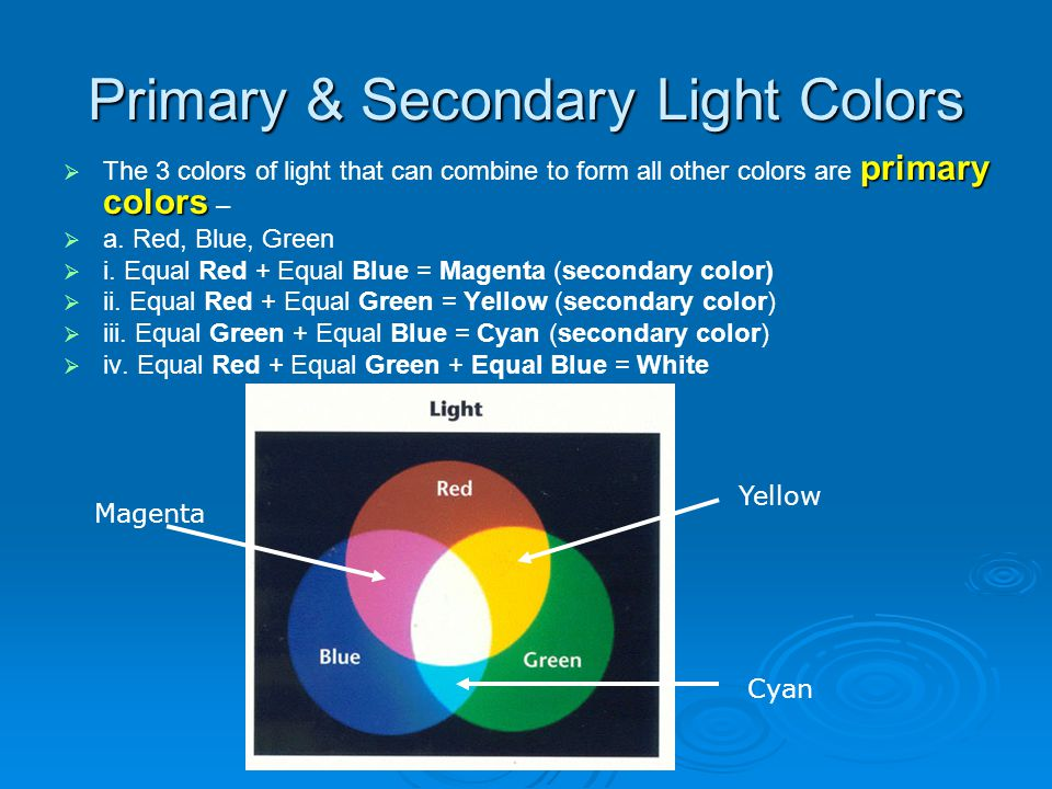 Primary & Secondary Light Colors primary colors The 3 colors of light that can combine to form all other colors are primary colors – a. Red, Blue, Gre