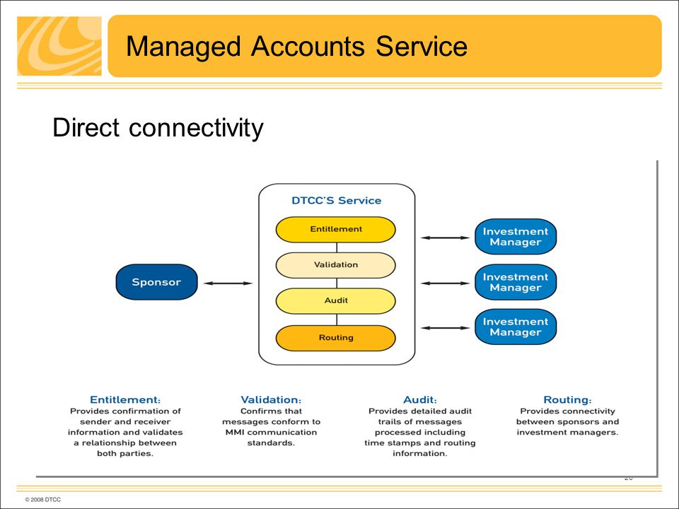 20 Managed Accounts Service Direct connectivity