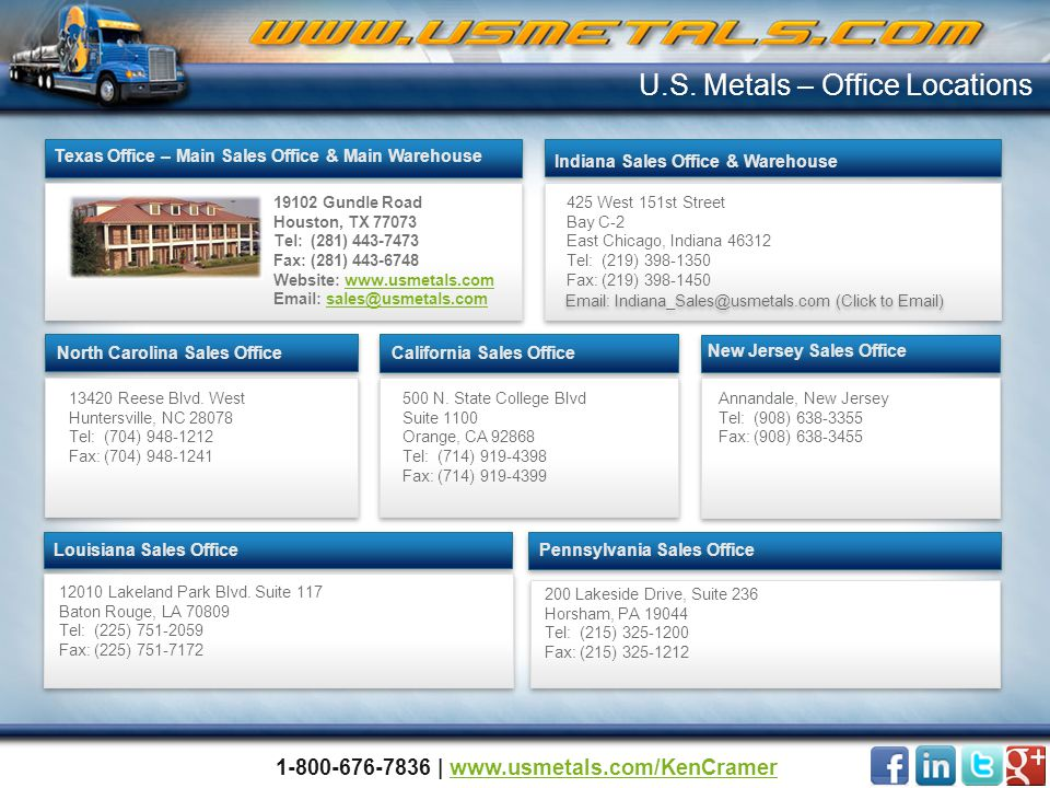 500 N. State College Blvd Suite 1100 Orange, CA 92868 Tel: (714) 919-4398 Fax: (714) 919-4399 California Sales Office Louisiana Sales Office 425 West