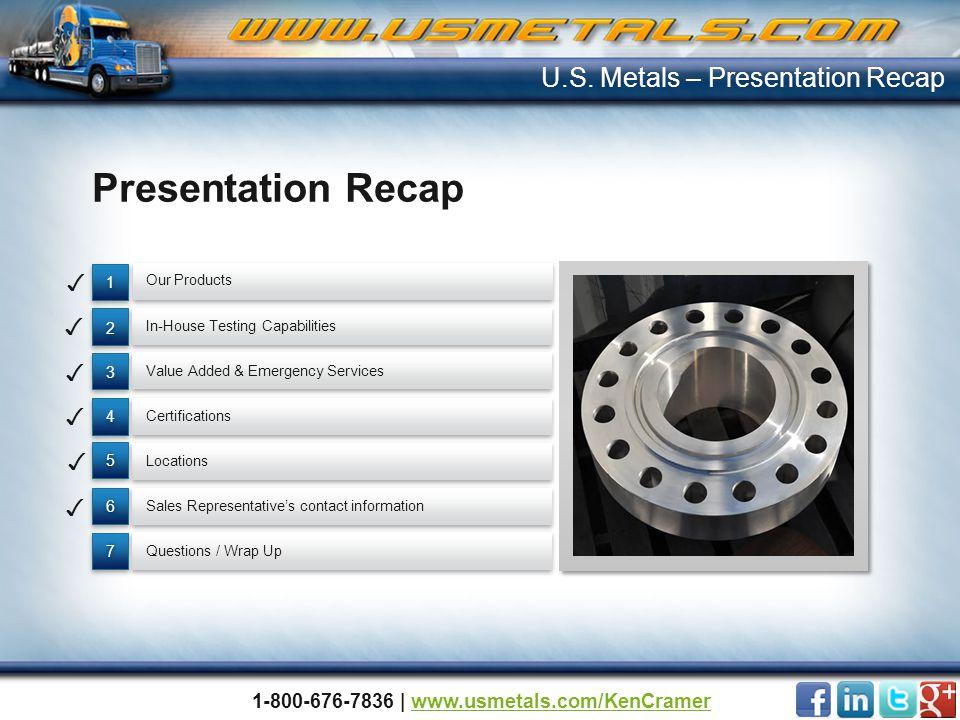 Presentation Recap 77 66 55 4 4 3 3 2 2 1 1 U.S. Metals – Presentation Recap Questions / Wrap Up Value Added & Emergency Services Locations In-House T