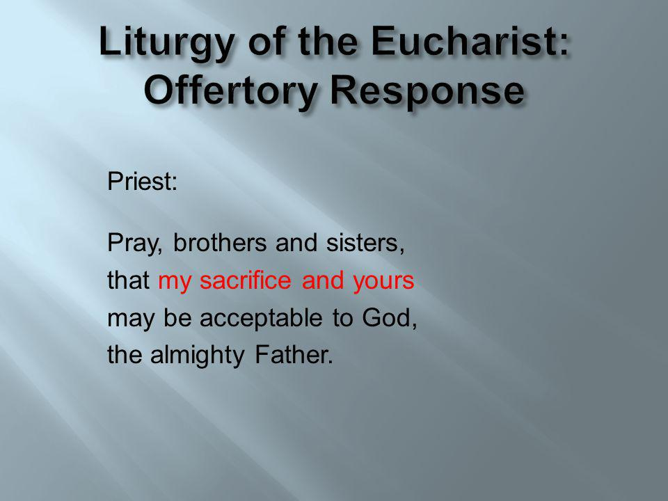 Priest: Pray, brothers and sisters, that my sacrifice and yours may be acceptable to God, the almighty Father.