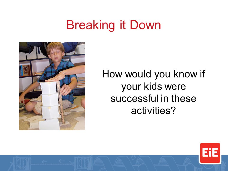 Breaking it Down How would you know if your kids were successful in these activities?