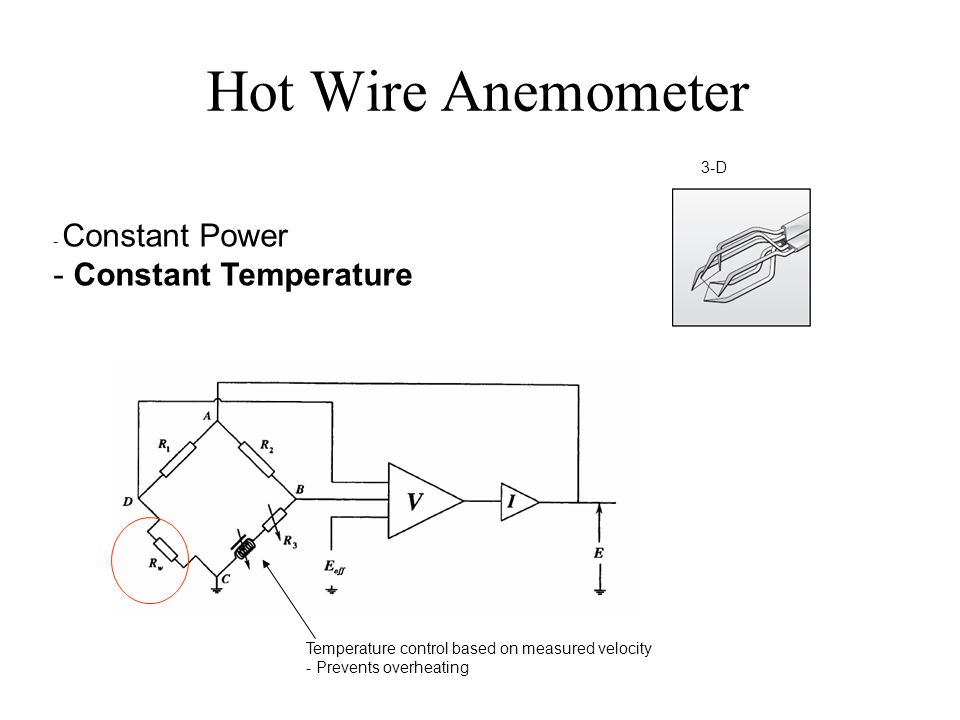Hot Wire Anemometer - Constant Power - Constant Temperature 3-D Temperature control based on measured velocity - Prevents overheating