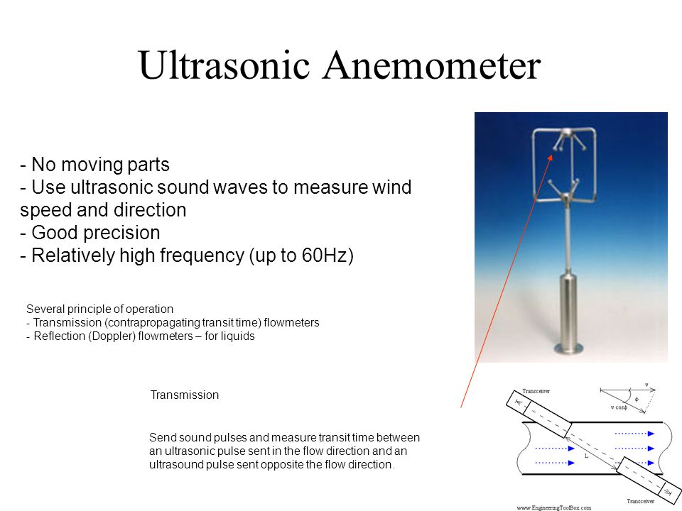 Ultrasonic Anemometer - No moving parts - Use ultrasonic sound waves to measure wind speed and direction - Good precision - Relatively high frequency