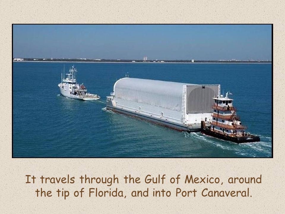 It travels through the Gulf of Mexico, around the tip of Florida, and into Port Canaveral.