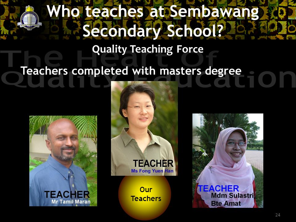 24 Quality Teaching Force Teachers completed with masters degree Our Teachers Our Teachers Who teaches at Sembawang Secondary School?