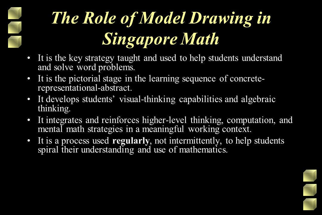 The Role of Model Drawing in Singapore Math It is the key strategy taught and used to help students understand and solve word problems.