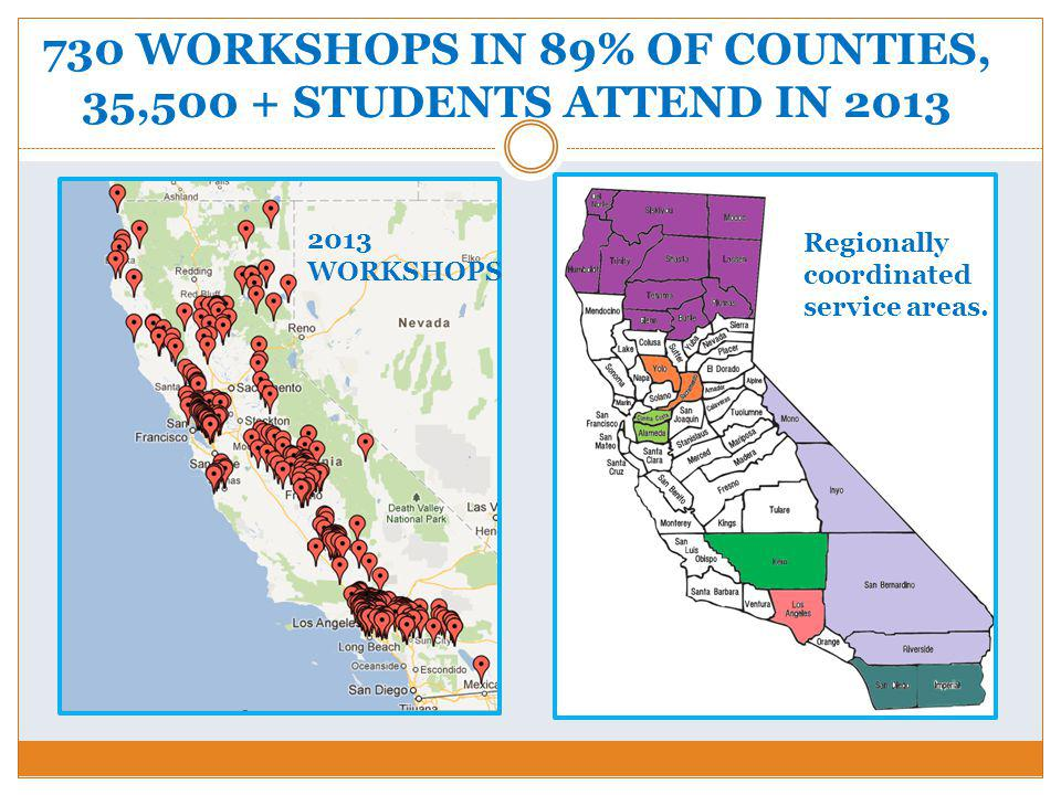 730 WORKSHOPS IN 89% OF COUNTIES, 35,500 + STUDENTS ATTEND IN 2013 Regionally coordinated service areas.