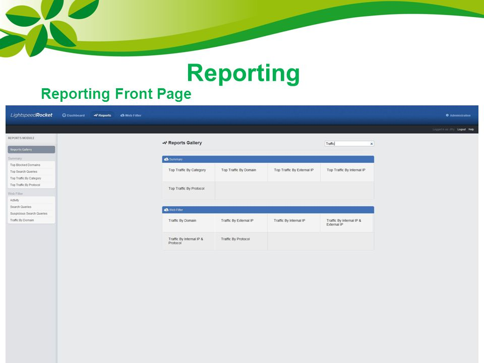 Reporting Reporting Front Page