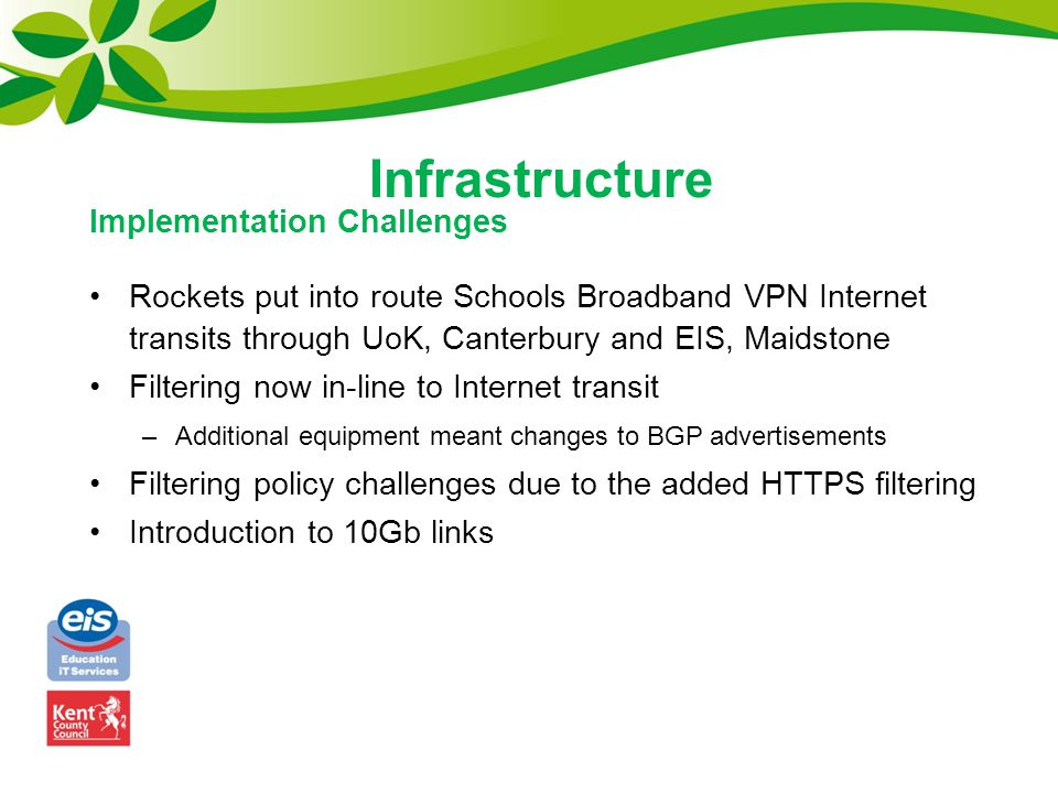 Rockets put into route Schools Broadband VPN Internet transits through UoK, Canterbury and EIS, Maidstone Filtering now in-line to Internet transit –A