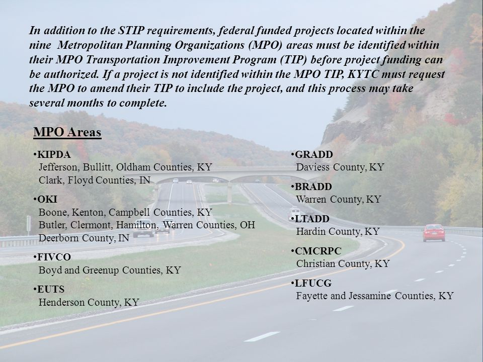 In addition to the STIP requirements, federal funded projects located within the nine Metropolitan Planning Organizations (MPO) areas must be identifi