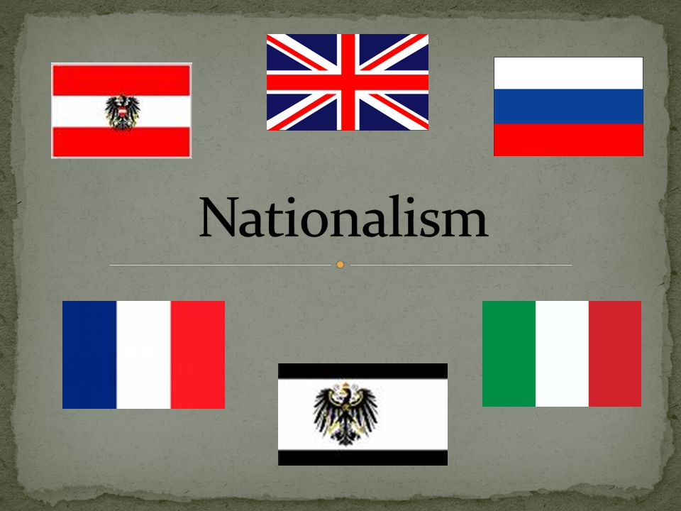 Nationalism – Belief that people who share the same language, culture, and ethnic background belong together in the same state Also applies to the belief that ones nation is as good as or better than others