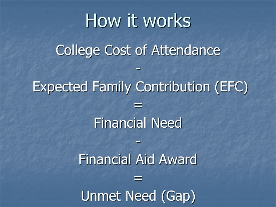 How it works College Cost of Attendance - Expected Family Contribution (EFC) Expected Family Contribution (EFC)= Financial Need - Financial Aid Award = Unmet Need (Gap)