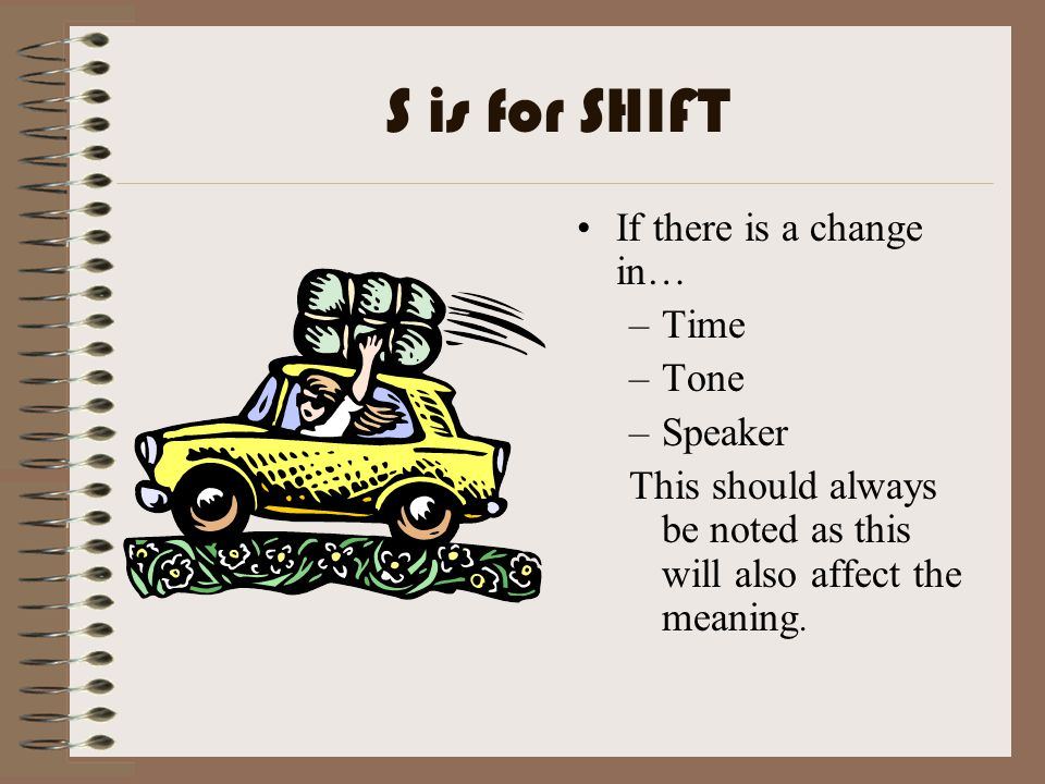 S is for SHIFT If there is a change in… –Time –Tone –Speaker This should always be noted as this will also affect the meaning.