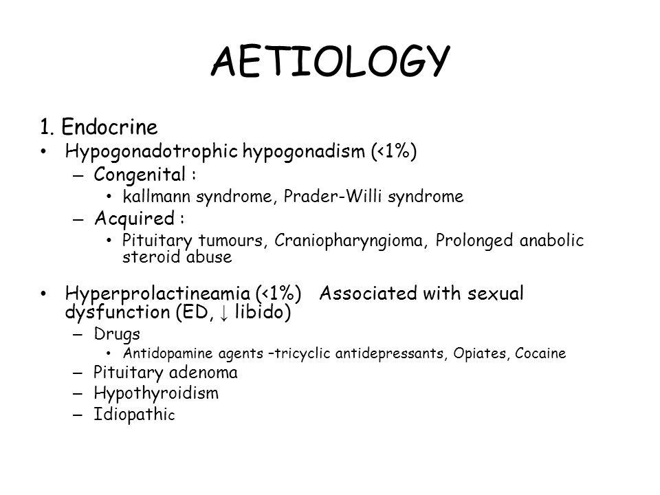 AETIOLOGY 1. Endocrine Hypogonadotrophic hypogonadism (<1%) – Congenital : kallmann syndrome, Prader-Willi syndrome – Acquired : Pituitary tumours, Cr