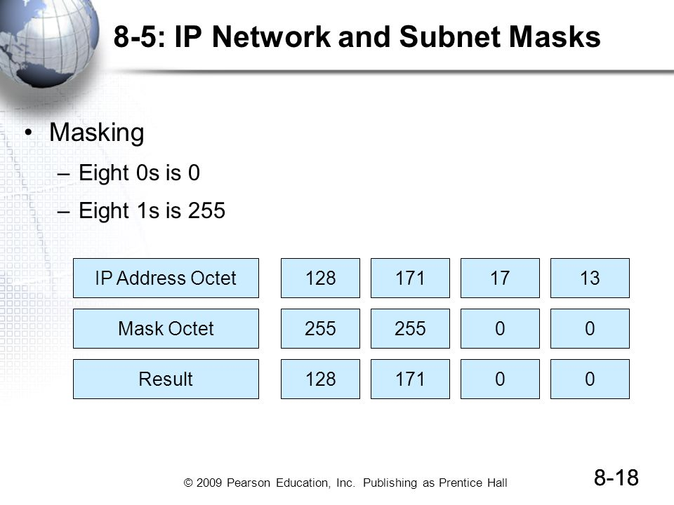 © 2009 Pearson Education, Inc. Publishing as Prentice Hall 8-18 8-5: IP Network and Subnet Masks Masking –Eight 0s is 0 –Eight 1s is 255 8-18 IP Addre