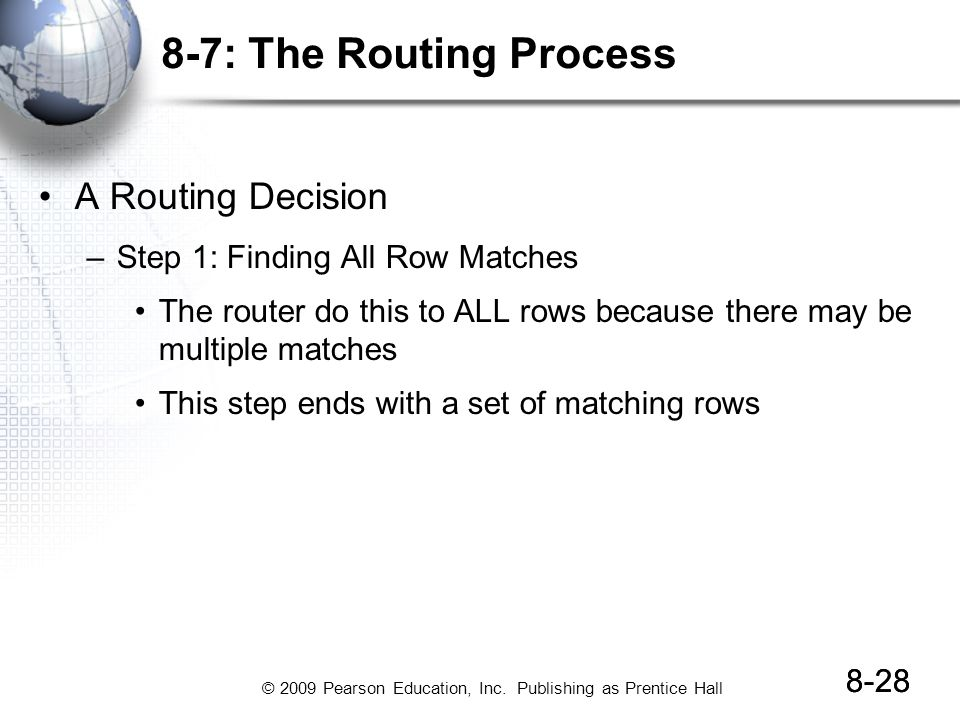 © 2009 Pearson Education, Inc. Publishing as Prentice Hall 8-28 8-7: The Routing Process A Routing Decision –Step 1: Finding All Row Matches The route