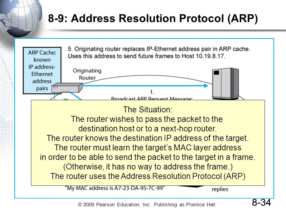 © 2009 Pearson Education, Inc. Publishing as Prentice Hall 8-34 8-9: Address Resolution Protocol (ARP) 8-34 The Situation: The router wishes to pass t